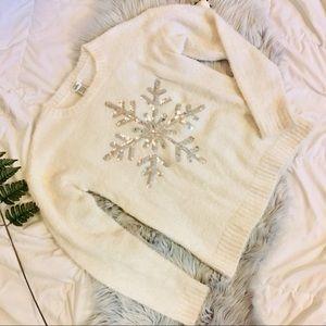ISELA Snowflake Fuzzy Sweater
